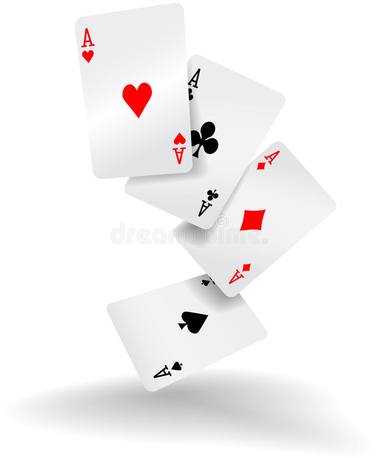 Playing cards four aces poker hand. Four aces of diamonds clubs spades and hearts fall or fly as poker playing cards royalty free illustration