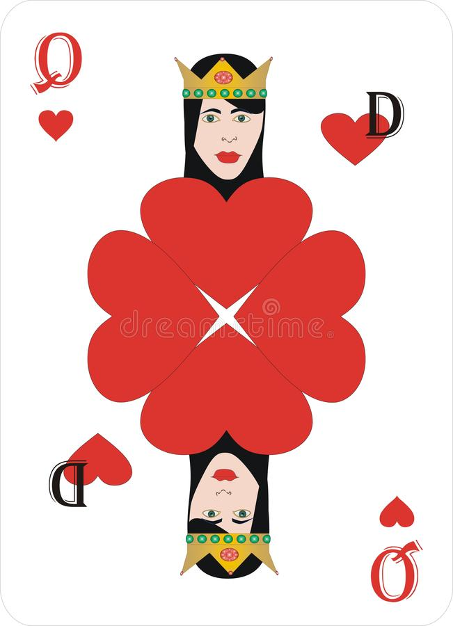 Playing cards heart Queen for rummy and Cassino. Cards for playing for fun and gambling playing cards in cassino - HEARTS and Queens royalty free illustration