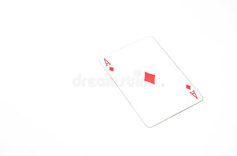 Playing cards horizontal size. ace of diamonds on white background, copyspace. luck abstract stock image