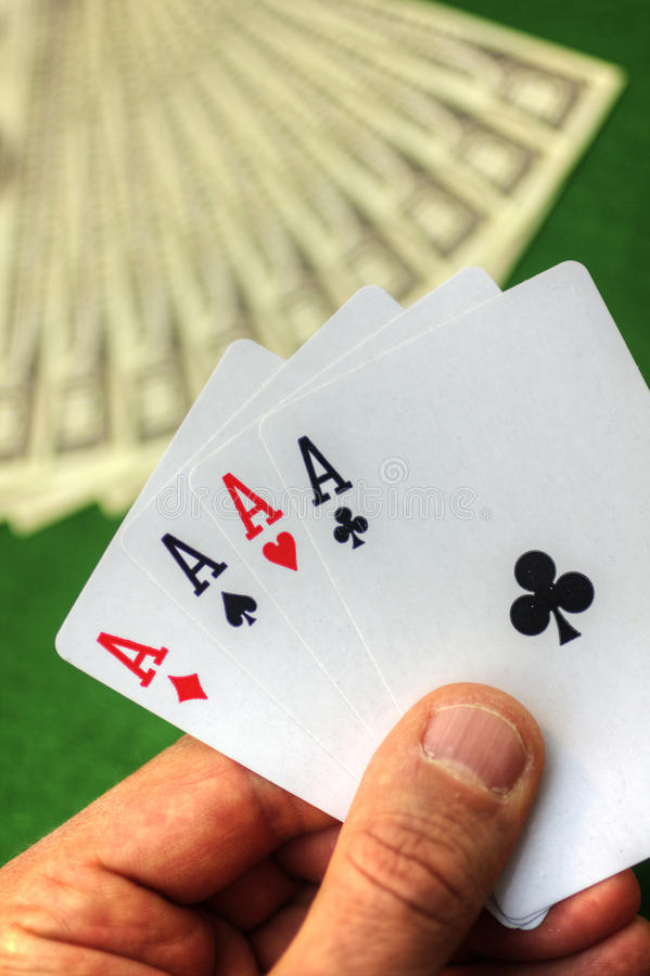 Playing cards and money royalty free stock photos
