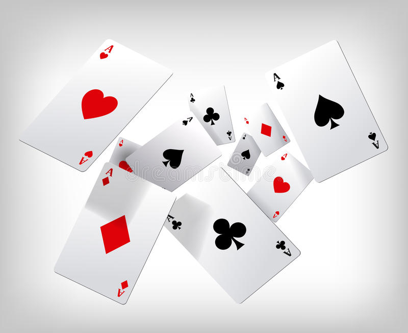 Playing cards. Poker aces flying on gray background. Poster template. stock photos