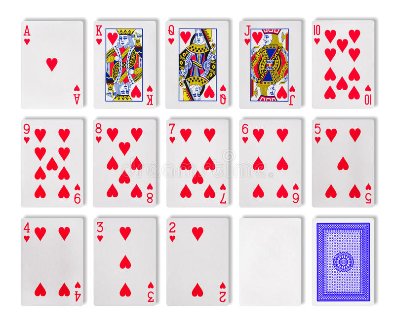 Playing cards poker casino. The combination of playing cards poker casino. Isolated on white background royalty free stock photography