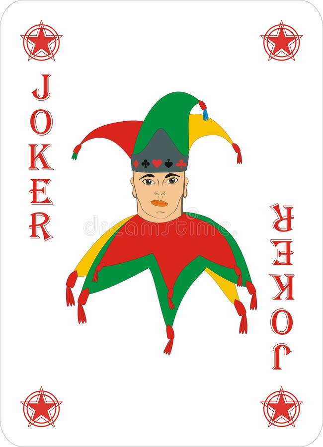Playing cards for POKER CASSINO - JOKER. Card games - a set of cards for the game of remmy, poker, preference, etc. with a joker and back vector illustration