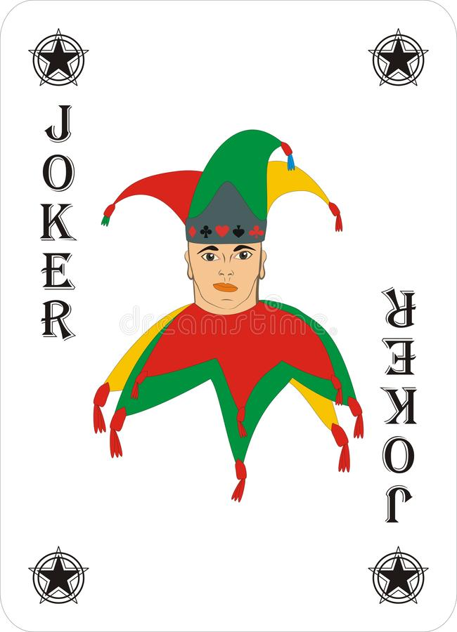 Playing cards for POKER CASSINO - JOKER. Card games - a set of cards for the game of remmy, poker, preference, etc. with a joker and back royalty free illustration