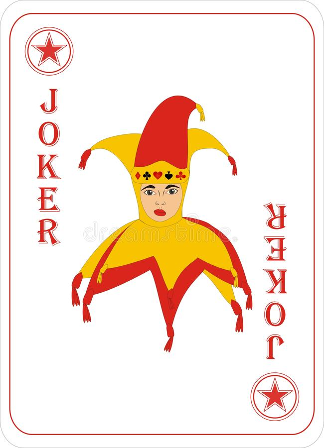 Playing cards for POKER CASSINO - JOKER. Card games - a set of cards for the game of remmy, poker, preference, etc. with a joker and back stock illustration