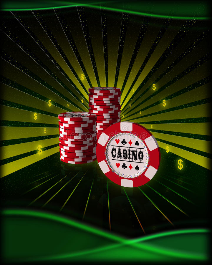 Playing cards, poker chips. Poker chips on a gold background vector illustration