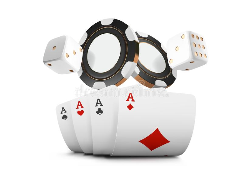 Playing cards, poker chips and dice fly casino on white background. Poker casino illustration. Online casino gam. E gambling table 3d concept stock illustration