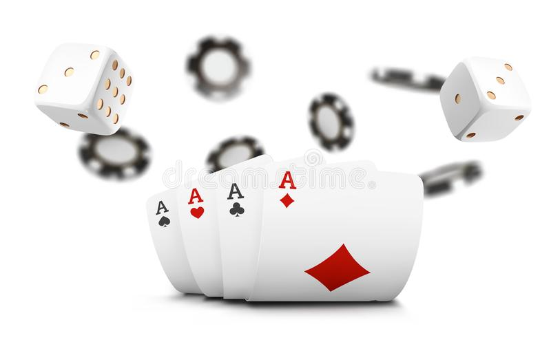 Playing Cards, Poker Chips And Dice Fly Casino On White Background. Poker Casino Vector Illustration. Online Casino Game Stock Vector - Illustration of heart, float: 119443234