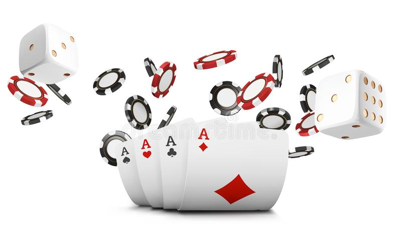 Playing cards, poker chips and dice fly casino on white background. Poker casino vector illustration. Online casino game stock illustration
