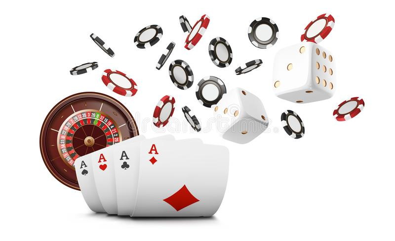 Playing cards and poker chips fly casino. Casino roulette concept on white background. Poker casino vector illustration stock illustration