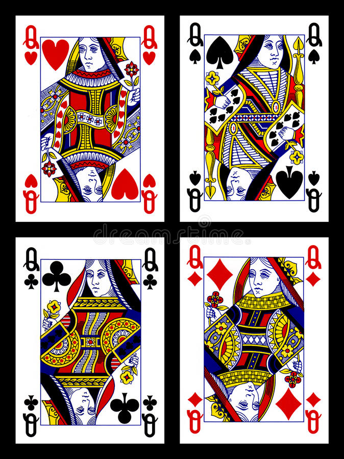 Playing cards - queens stock images