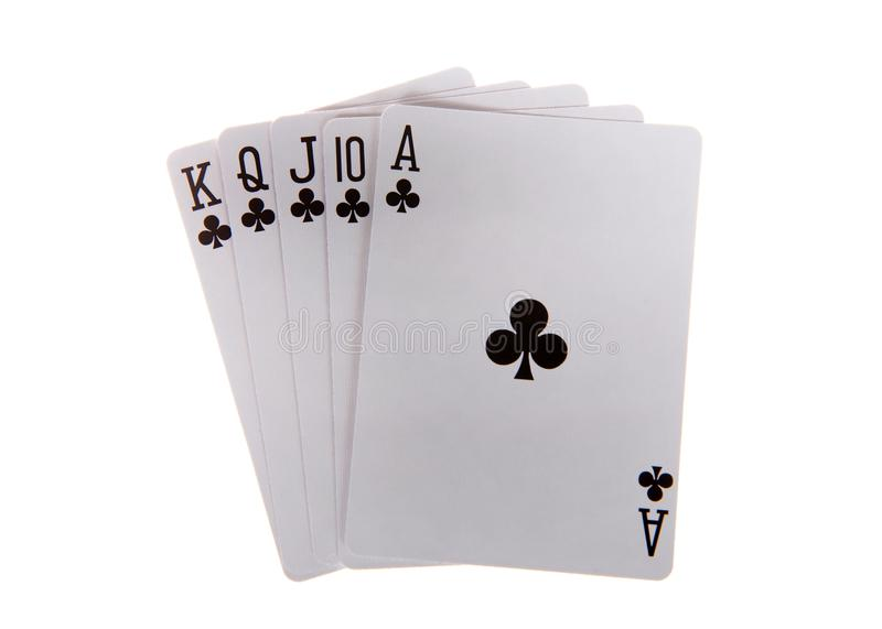 Royal flush playing cards isolated royalty free stock photo