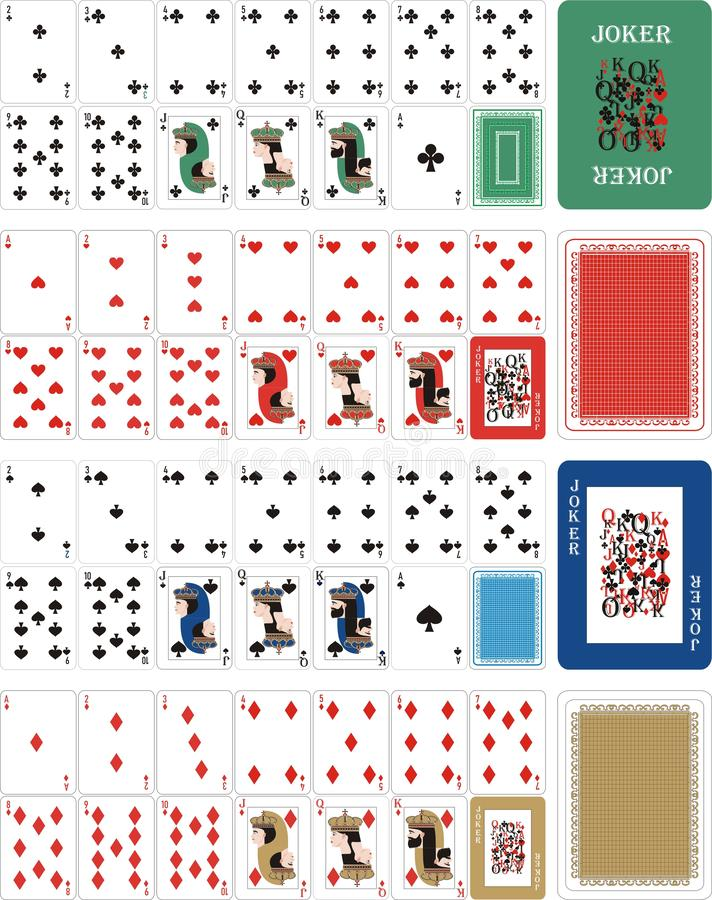 Playing cards for rummy 1. Card games - a set of cards for the game of remmy, poker, preference, etc. with a joker and back royalty free illustration