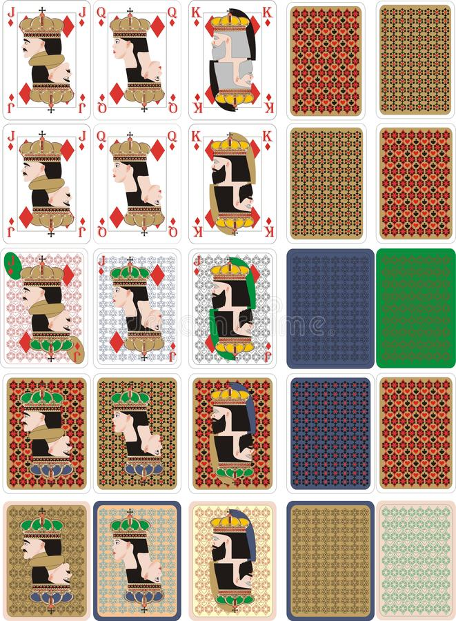 Playing cards for rummy and Cassino. Cards for playing for fun and gambling vector illustration