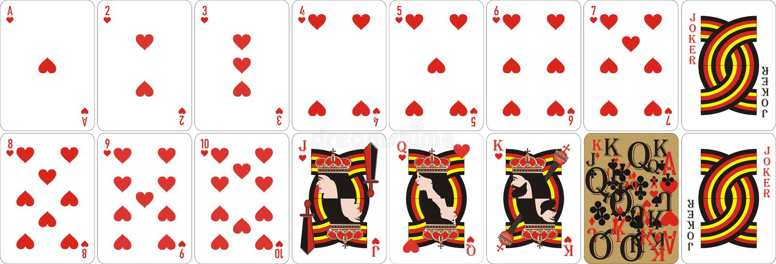 Playing cards for rummy and Cassino. Cards for playing for fun and gambling.Suitable first of all for poker. Original design. vector file available stock illustration