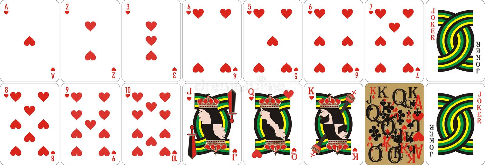 Playing cards for rummy and Cassino. Cards for playing for fun and gambling.Suitable first of all for poker. Original design. Vector file available vector illustration