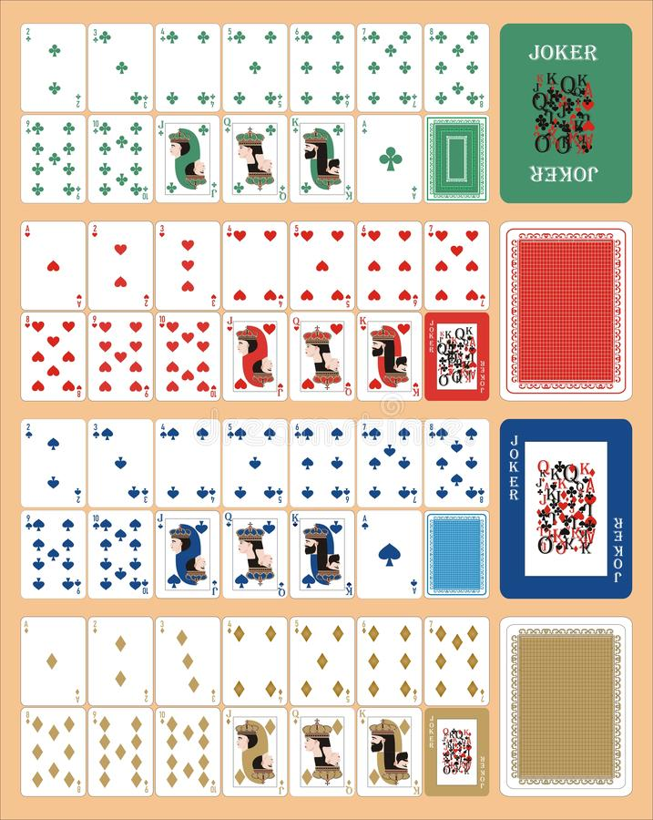 Playing cards for rummy LEFT. Card games - a set of cards for the game of remmy, poker, preference, etc. with a joker and back stock illustration