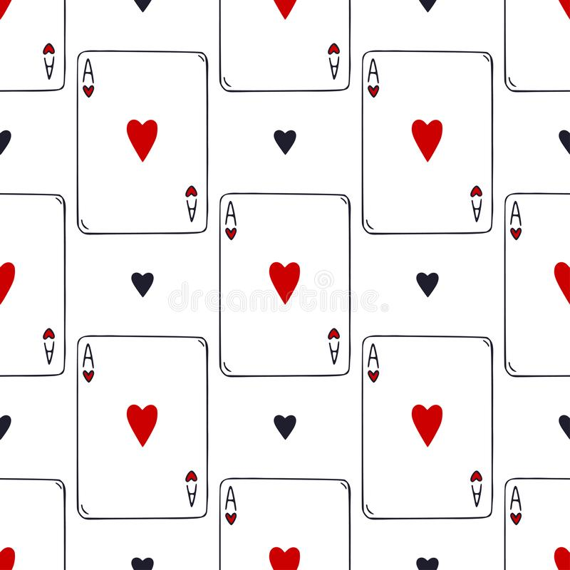 Playing cards seamless pattern. Ace of hearts vector background. Card game pattern. Gambling print decoration. royalty free illustration