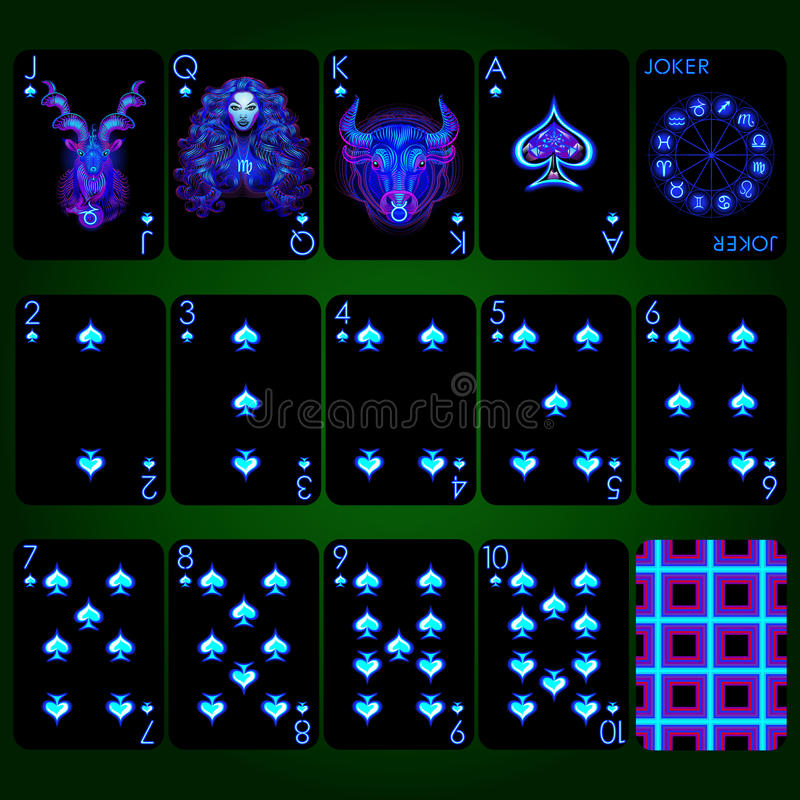 Playing cards series Neon Zodiac signs . Spade suit playing cards full set. Playing cards, spade suit, joker and back. Background black card royalty free illustration