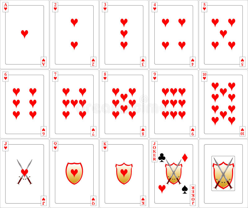 Playing Cards set - Hearts stock image