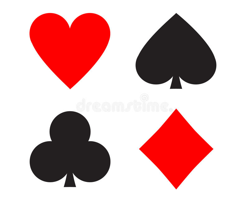 Playing cards signs. Simple shapes of playing cards signs royalty free illustration