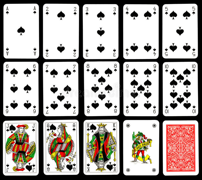 Playing cards - Spades stock photography