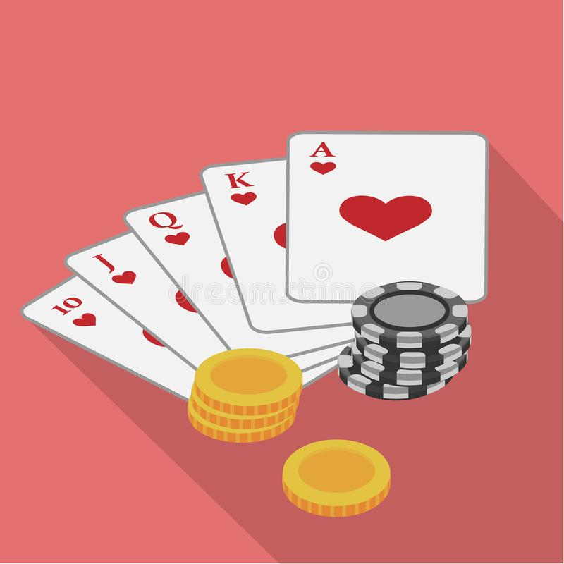 Playing cards suit hearts with chips laying nearby on a pink background. Vector illustration. Close-up. Gambling vector illustration