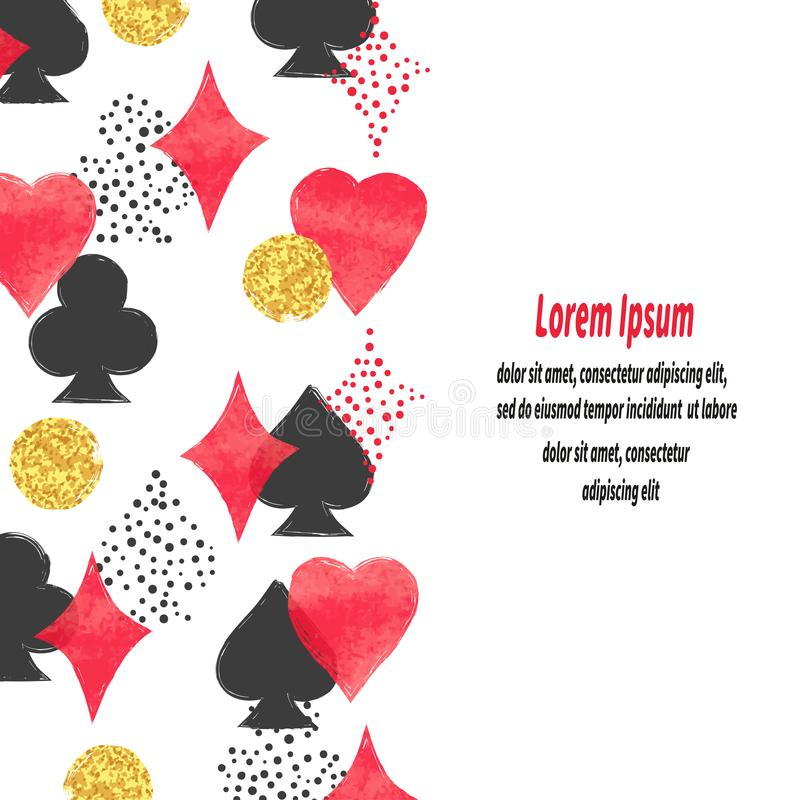 Playing cards suits background. Poker border vector illustration
