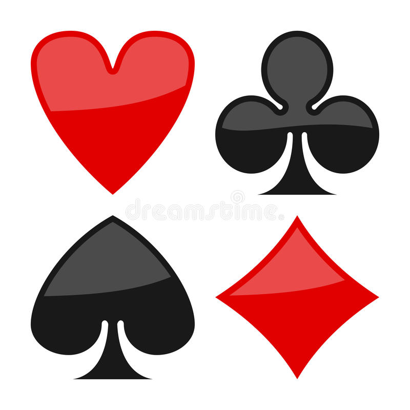 Playing Cards Suits Flat Symbols on White. Playing cards suits flat icons, isolated on white background. Eps file available royalty free illustration