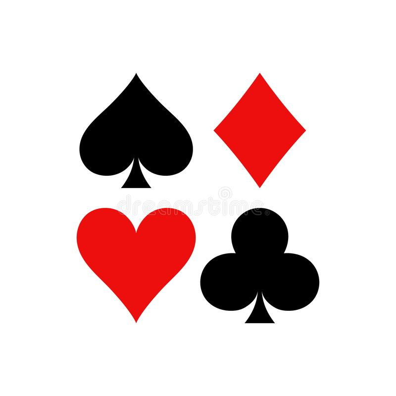 Playing cards symbols. Diamonds, spades, clubs and hearts icon set in a square. vector illustration
