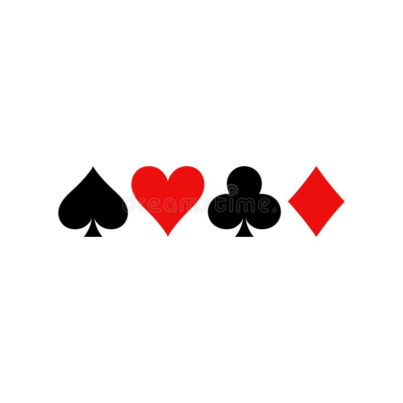 Playing Cards Symbols. Diamonds, Spades, Clubs And Hearts Icon Set. Stock Vector - Illustration of hearts, game: 126954552