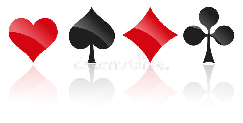 Playing cards symbols. French playing cards symbols hearts, tiles, clovers and pikes with reflection royalty free illustration