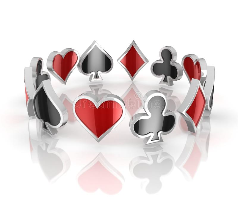 Playing Cards Symbols Heart Club Diamond And Spade 3d Icons