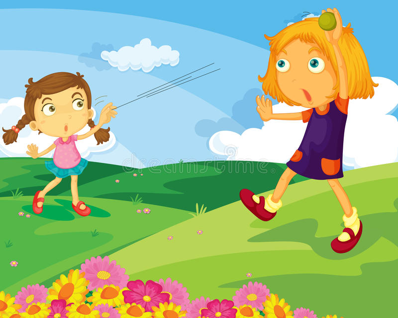 Playing catch. Illustration of 2 girls playing catch in a field stock illustration