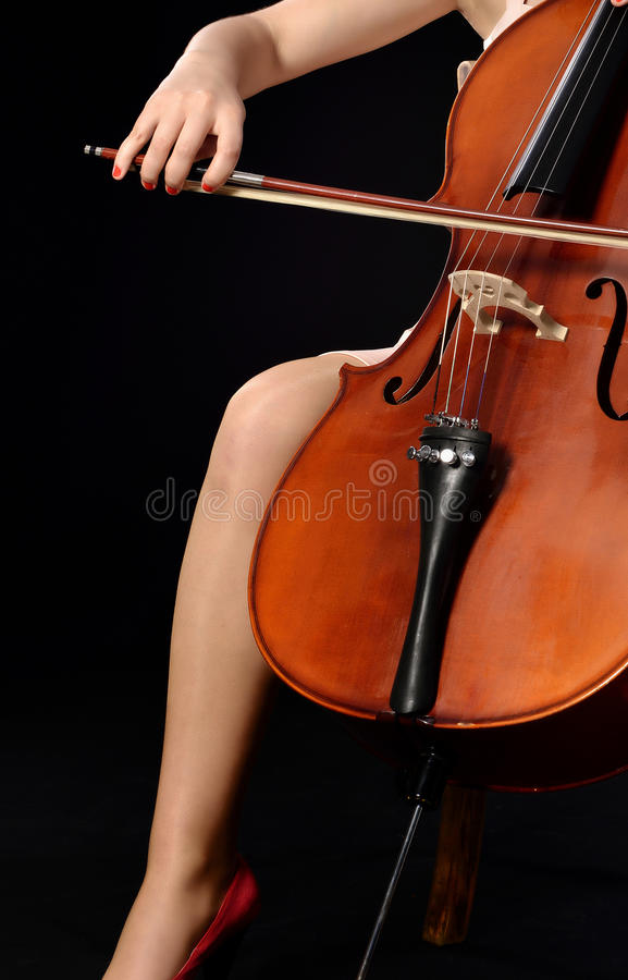 Playing cello stock photos