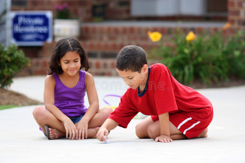 Download Playing With Chalk stock image. Image of outside, playing - 6414607