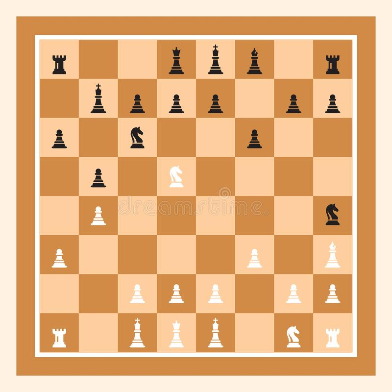 Playing Chess Game With Brown Chess Board. Chess Figures King, Queen, Bishop, Knight, Rook, Pawn royalty free illustration
