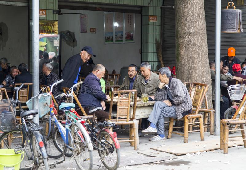 Playing chess game in the teahouse, sichuan,china stock images