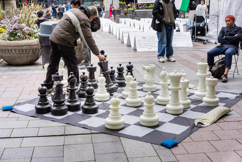 Playing chess at the park royalty free stock image