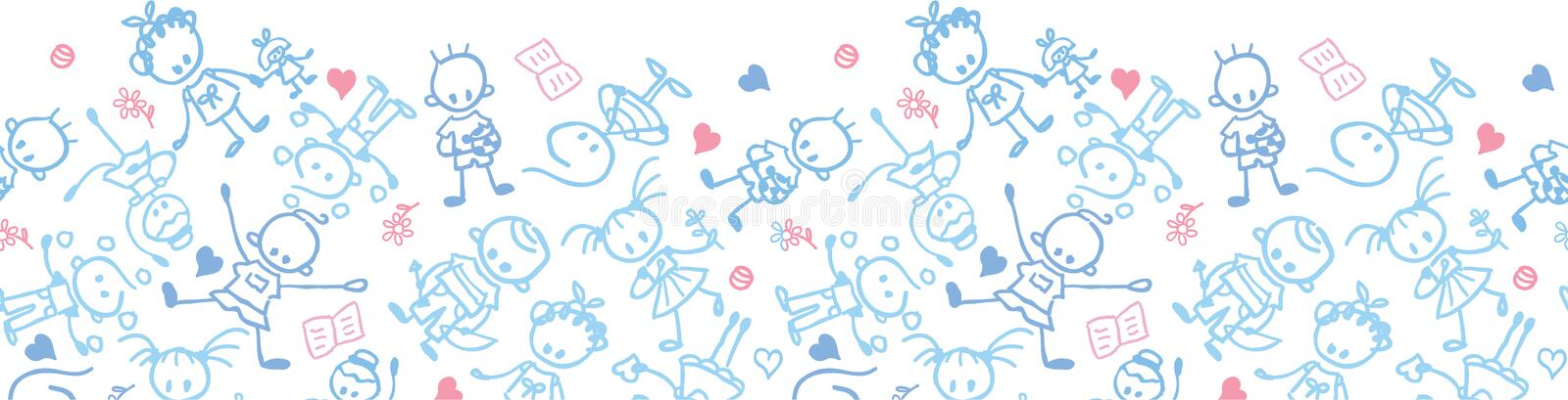Download Playing Children Horizontal Seamless Pattern Stock Vector - Image: 32494923