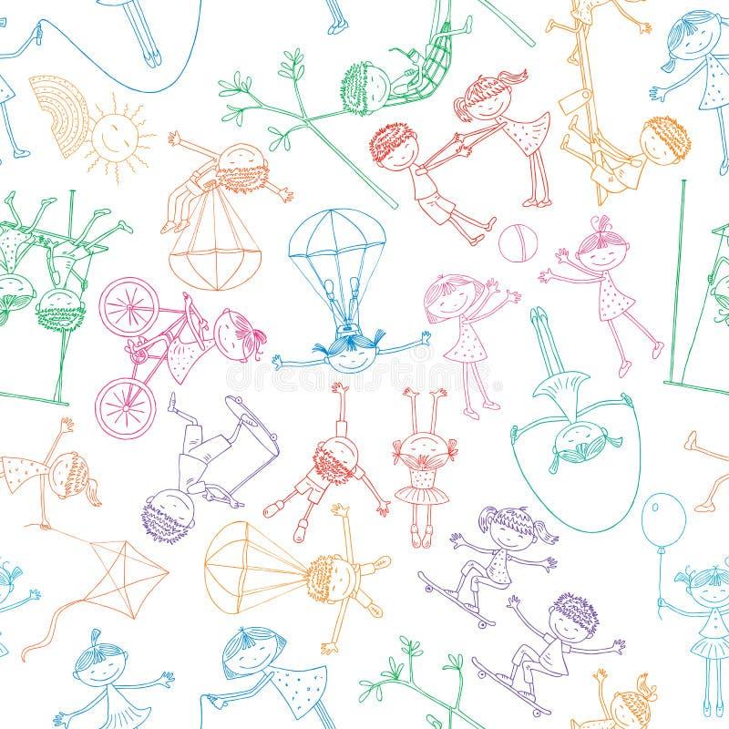 Playing children vector illustration