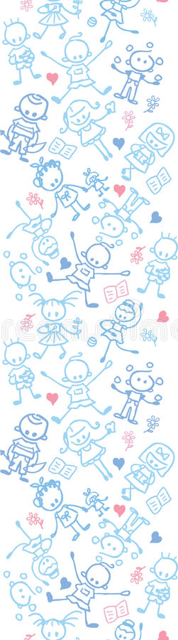 Playing children vertical seamless pattern border