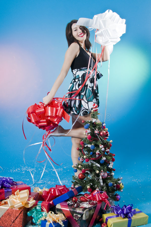 Download Playing With Christmas Bows Royalty Free Stock Images - Image: 7240299