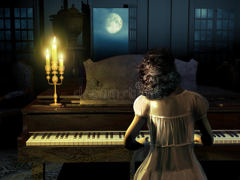 Playing Clair De Lune. Woman with her nightgown, playing music on a piano at night, in front of the doors of her house, through which we see the Moon royalty free illustration