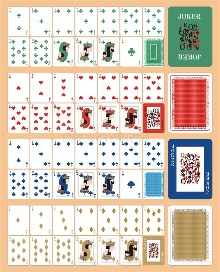 Playing COLOR cards for RUMMU 2. Card games - a set of cards for the game of remmy, poker, preference, etc. with a joker and back vector illustration