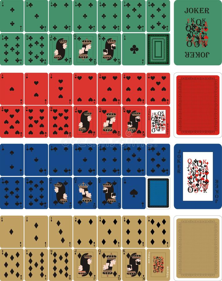 Playing COLOR cards for RUMMU 3. Card games - a set of cards for the game of remmy, poker, preference, etc. with a joker and back vector illustration