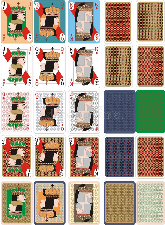 Playing COLOR cards for RUMMU 4. Vector playing cards for casino - poker, rummy, royals, solitaire , blackjack, bridge vector illustration