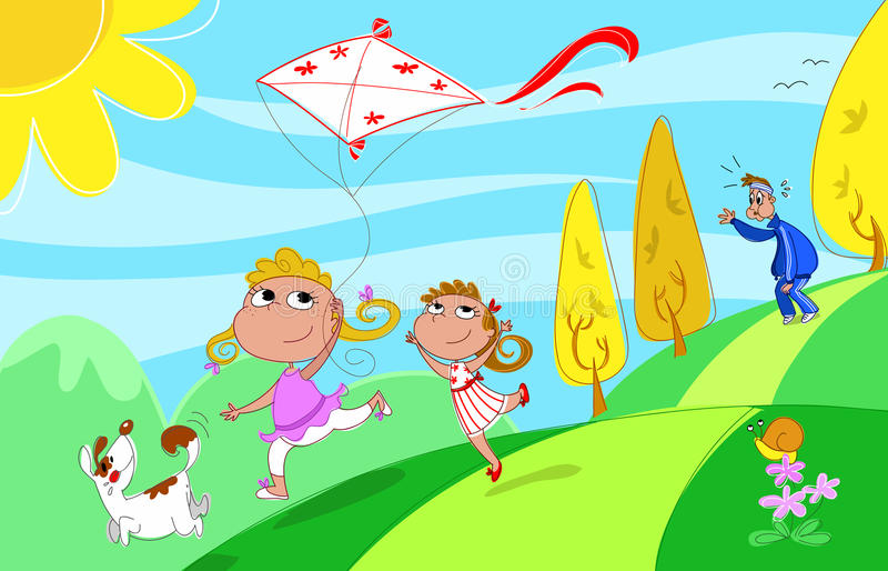 Playing with dad. Two sisters and a dog are playing with a kite, but the tired father is panting behind! Digital humorous illustration