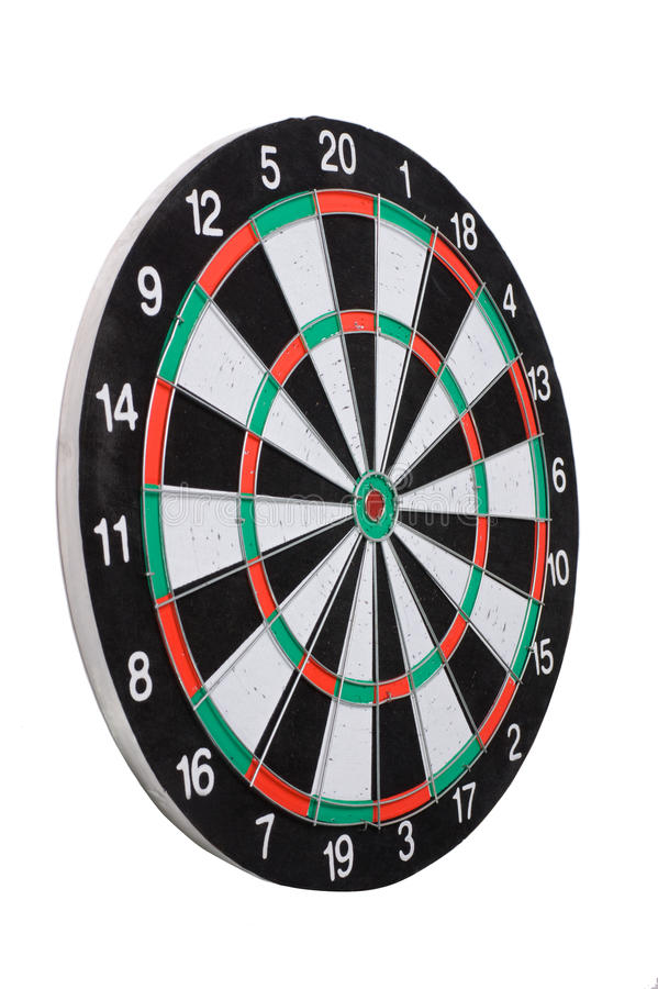 Playing darts. Isolated on white stock images