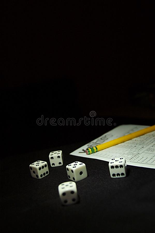 Playing dice for highest combinations royalty free stock photography